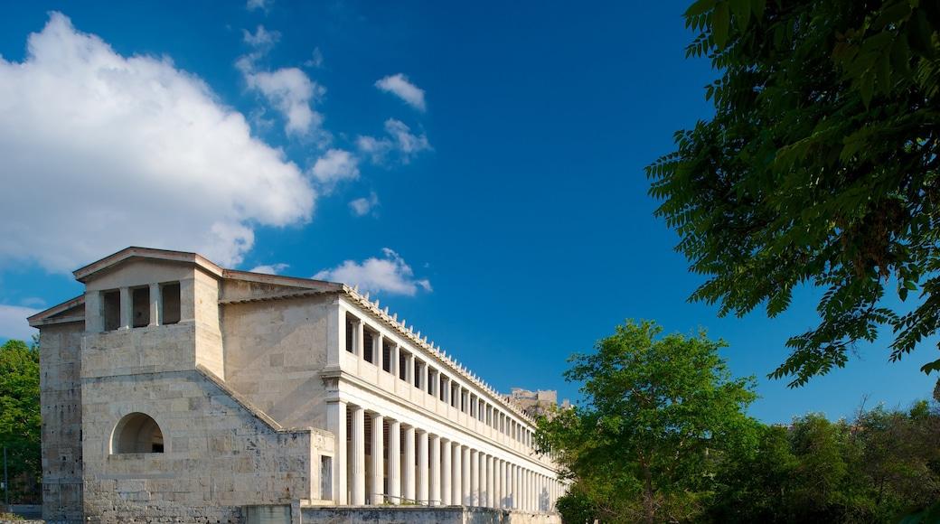 Estoa de Átalo ofreciendo patrimonio de arquitectura y escenas urbanas