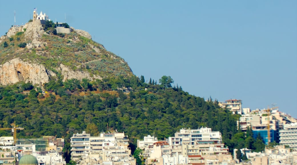 Mount Lycabettus featuring mountains and a city