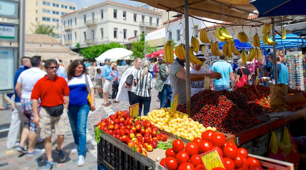 Mercadillo de Monastiraki mostrando escenas urbanas, mercados y comida