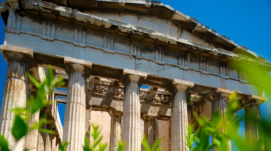 Templo de Hefesto mostrando patrimonio de arquitectura y un templo o lugar de culto