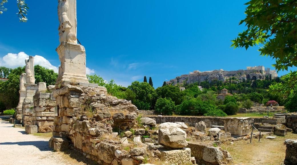 Antike Agora mit einem historische Architektur und Gebäuderuinen
