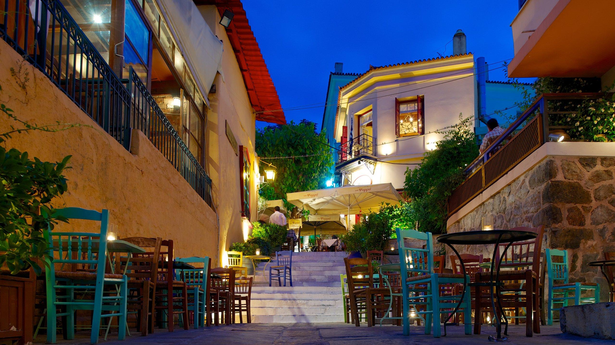 Pláka qui includes scènes de nuit, sortie au restaurant et scènes de rue