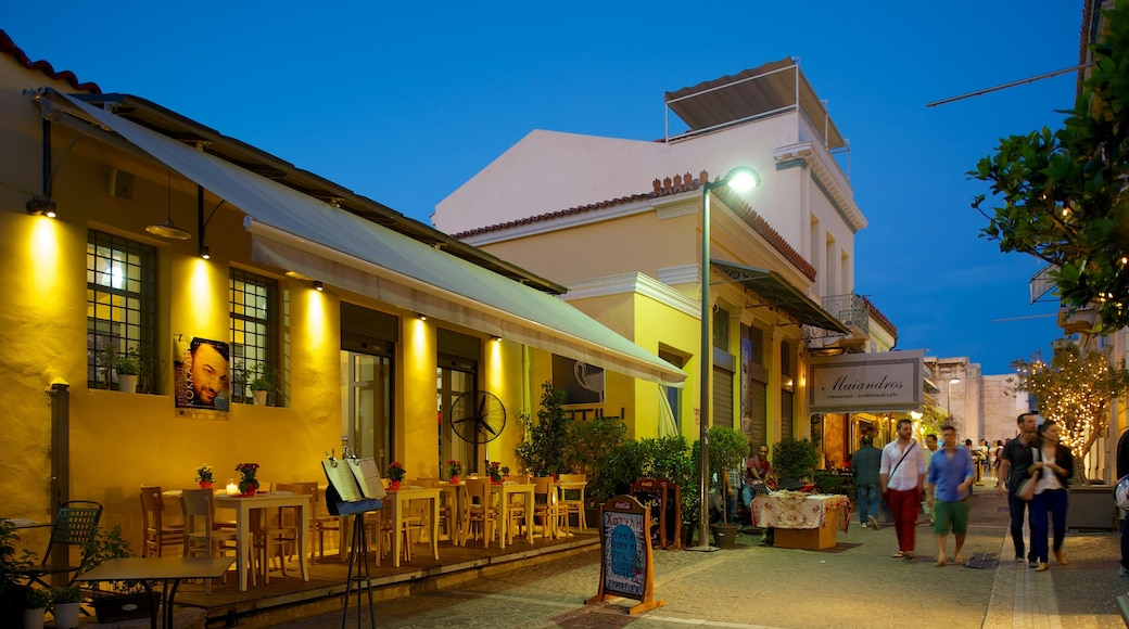 Plaka featuring night scenes, dining out and street scenes