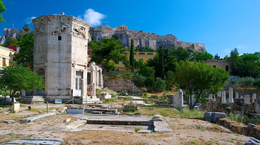 Atenas que incluye una ciudad, ruinas de edificios y patrimonio de arquitectura