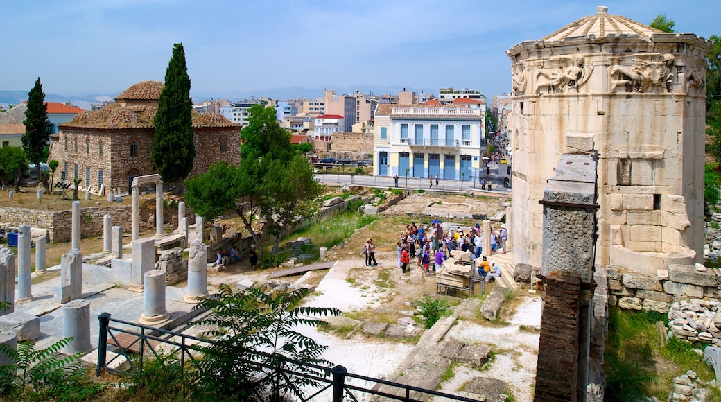Athens featuring heritage elements and a city as well as a large group of people