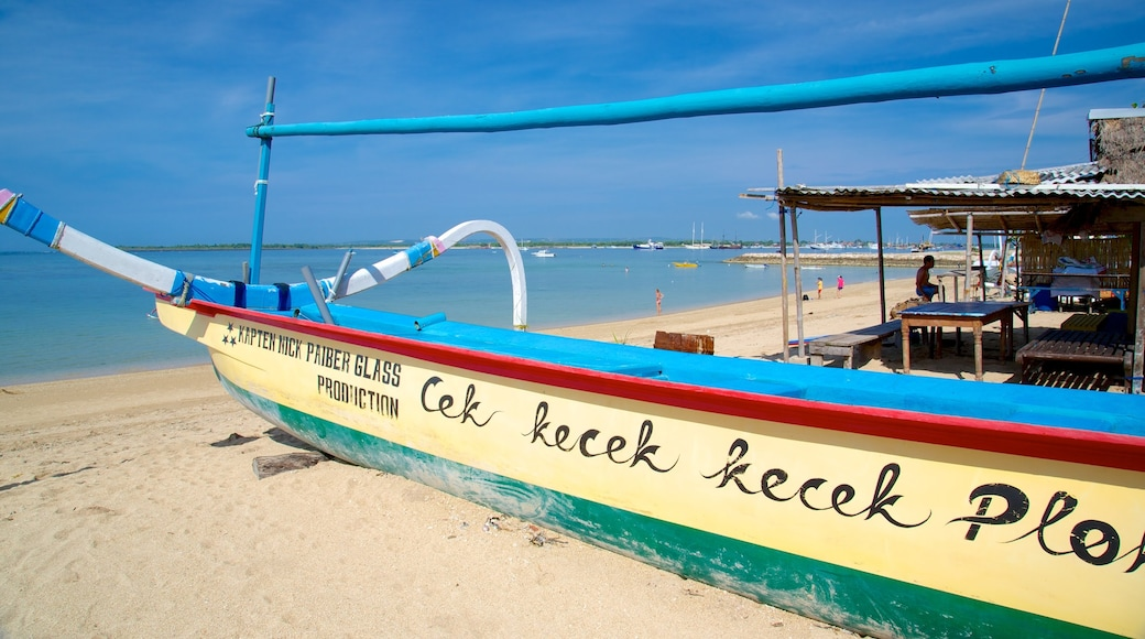 Sanur Beach showing a beach, tropical scenes and boating