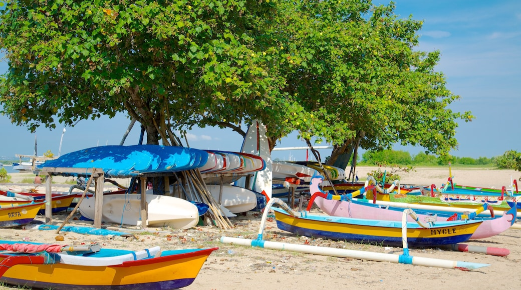 Sanur Beach featuring tropical scenes, boating and a sandy beach