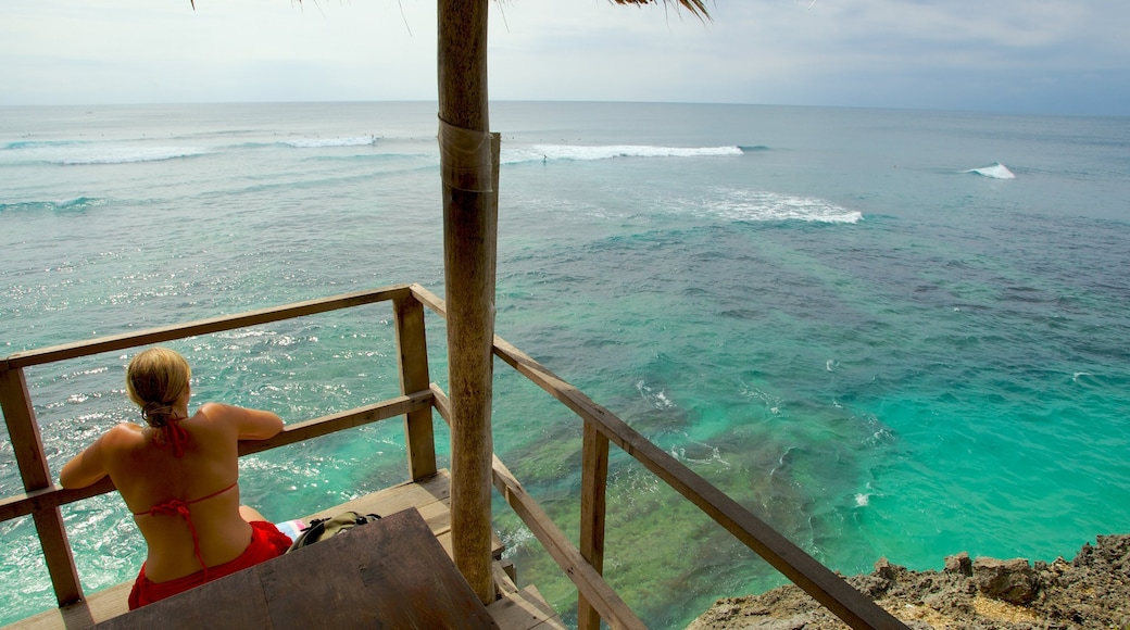 Uluwatu Beach featuring tropical scenes, views and general coastal views