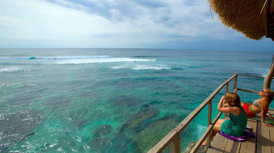 Uluwatu Beach featuring tropical scenes, general coastal views and views