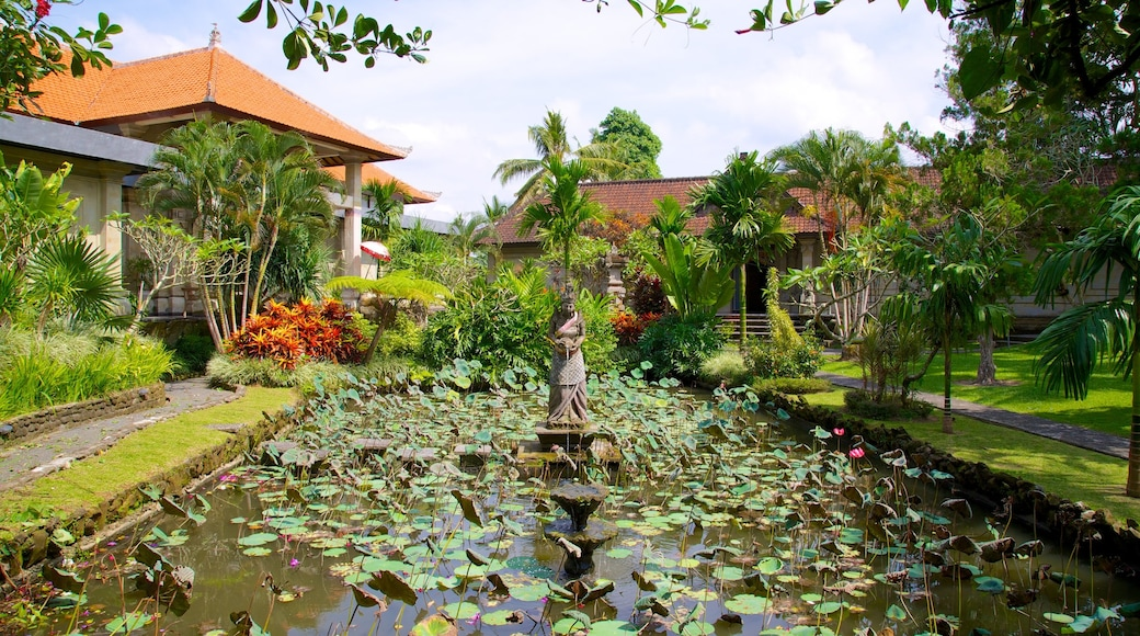 Museum Puri Lukisan showing a garden, a pond and tropical scenes