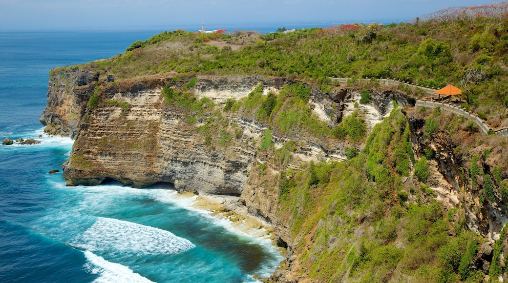 Uluwatu Temple which includes rocky coastline