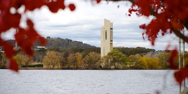 Canberra showing a lake or waterhole and a monument