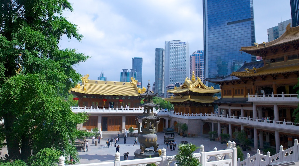 Jing An Temple showing a temple or place of worship and a city