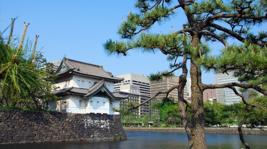 Tokyo Imperial Palace featuring a garden and a lake or waterhole