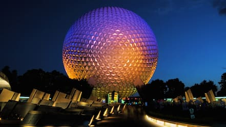 Walt Disney World featuring night scenes