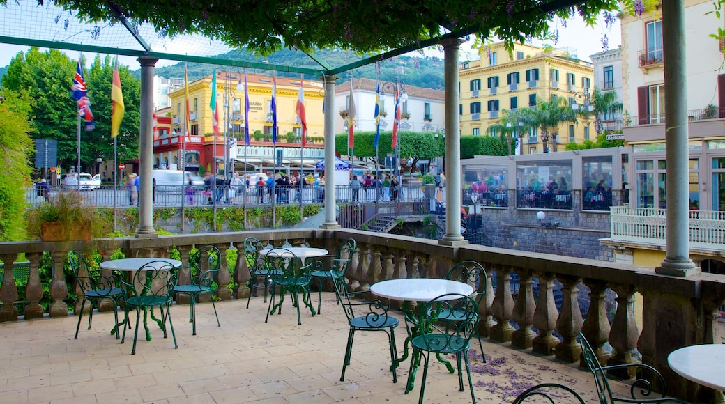 Piazza Tasso featuring outdoor eating and a city