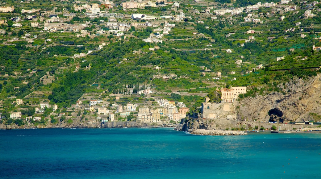 Maiori which includes a city, mountains and rugged coastline