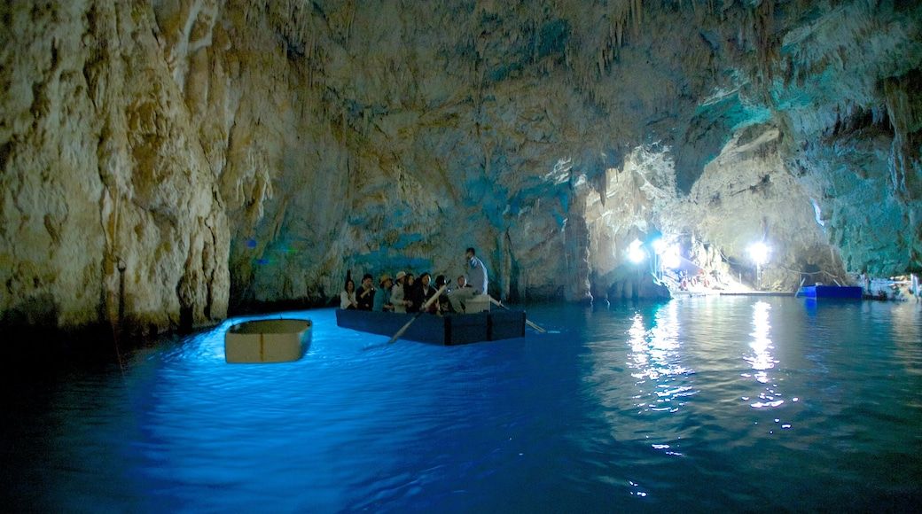 Emerald Grotto which includes interior views, caving and caves