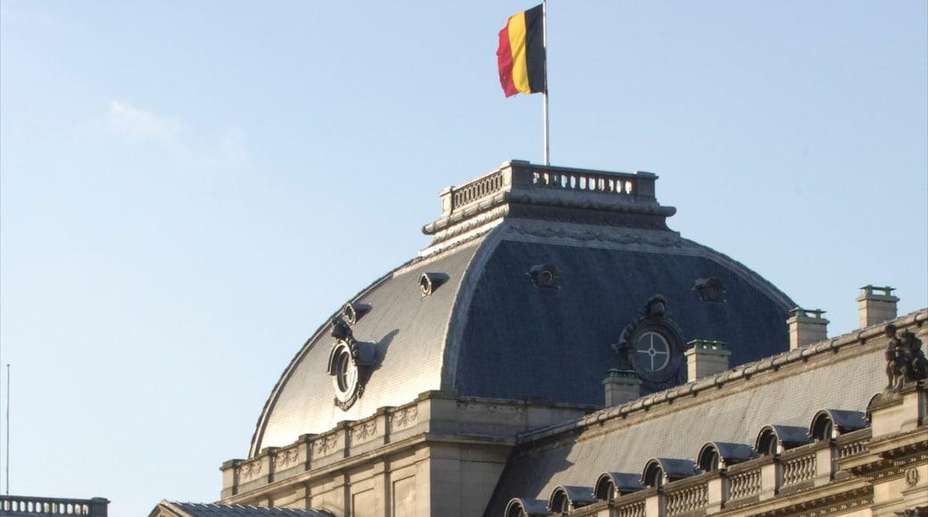 Koninklijk paleis van Brussel toont een kasteel, een overheidsgebouw en historische architectuur