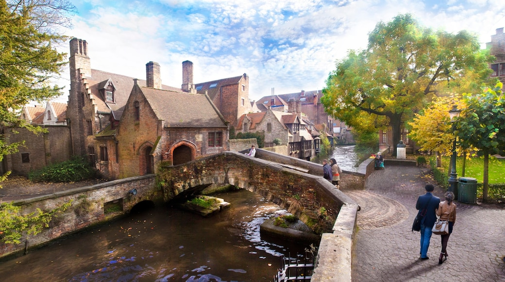 Bruges showing a river or creek, street scenes and a house