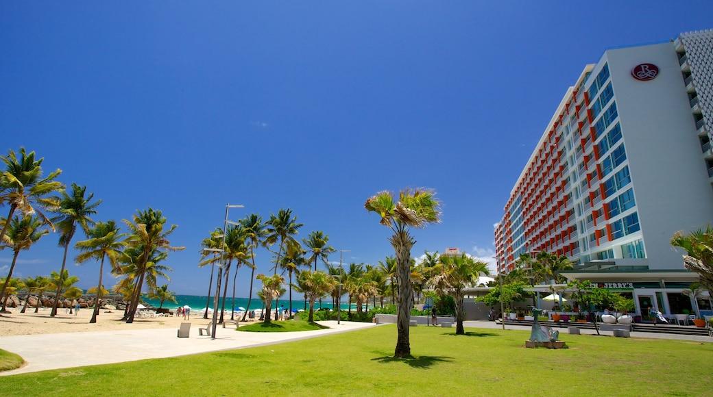Praia Condado caracterizando paisagens litorâneas, cenas tropicais e uma cidade