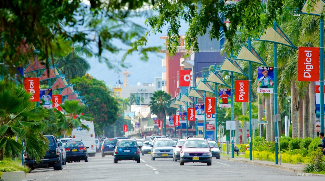 Suva which includes street scenes and a city