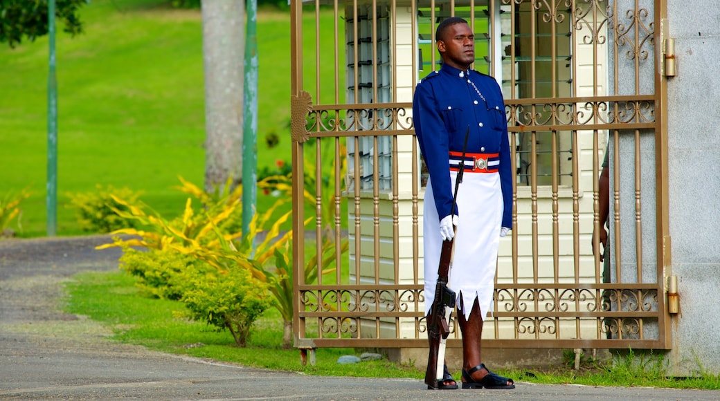 Suva which includes an administrative building and military items as well as an individual male