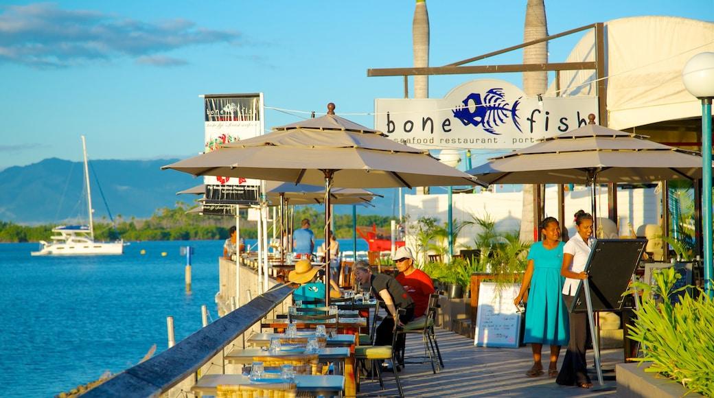 Port Denarau featuring general coastal views, street scenes and outdoor eating