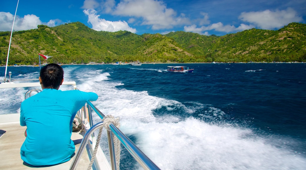 Gili Islands which includes general coastal views, mountains and boating