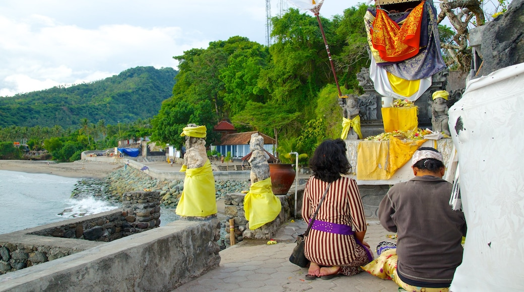 Lombok showing general coastal views, religious elements and a temple or place of worship