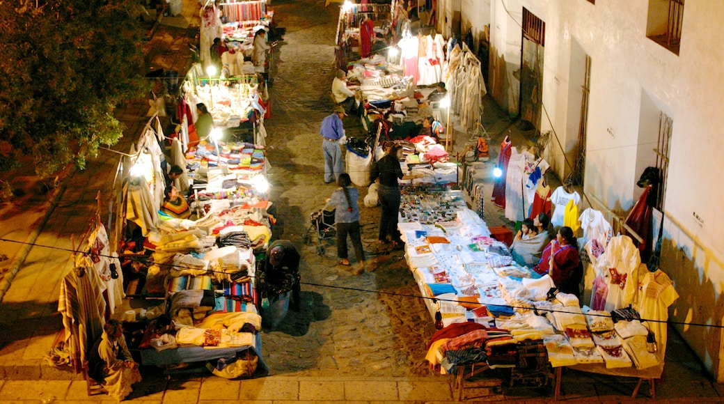 Oaxaca which includes a city, night scenes and markets