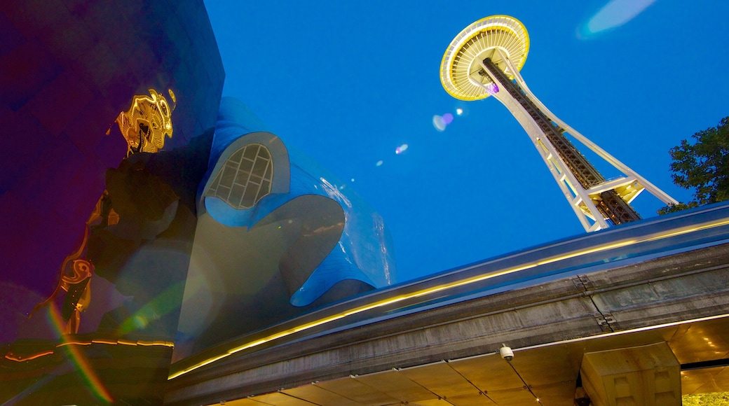 Seattle Center which includes night scenes and modern architecture