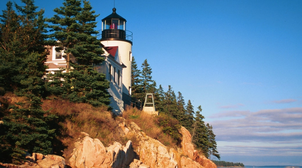 Bar Harbor showing rugged coastline and a lighthouse