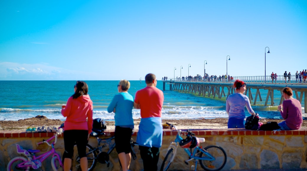 Adelaide featuring general coastal views and cycling as well as a large group of people