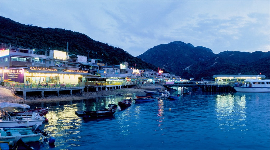 Lamma Island featuring a coastal town, boating and a city
