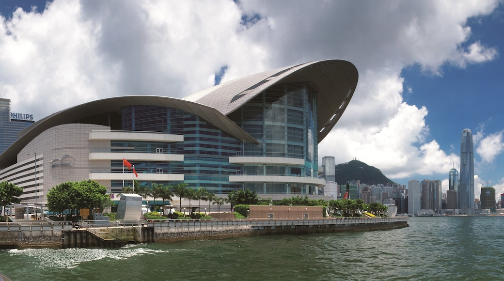 Hong Kong Convention and Exhibition Centre which includes a city and general coastal views