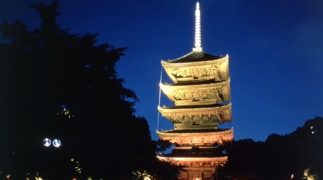 วัด Toji เนื้อเรื่องที่ วิวกลางคืน และ วัดหรือสถานที่เคารพบูชา