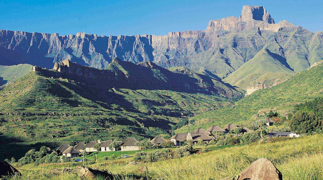 Drakensberg Mountains featuring mountains, landscape views and a small town or village