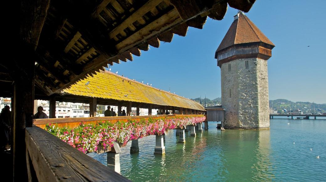 Pont de Lucerne mettant en vedette fleurs, vues et patrimoine architectural