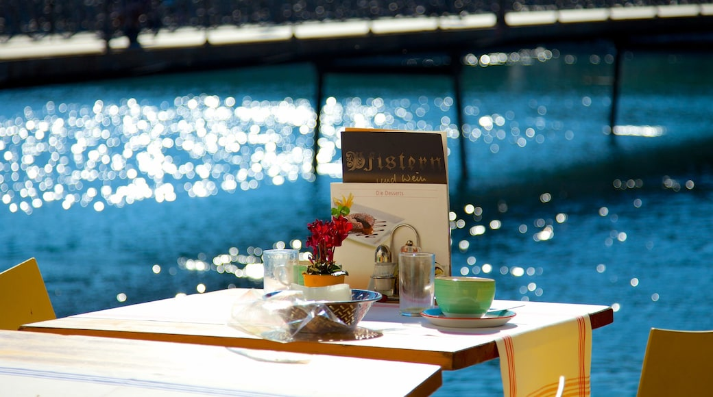 Old Town Lucerne featuring outdoor eating, dining out and drinks or beverages