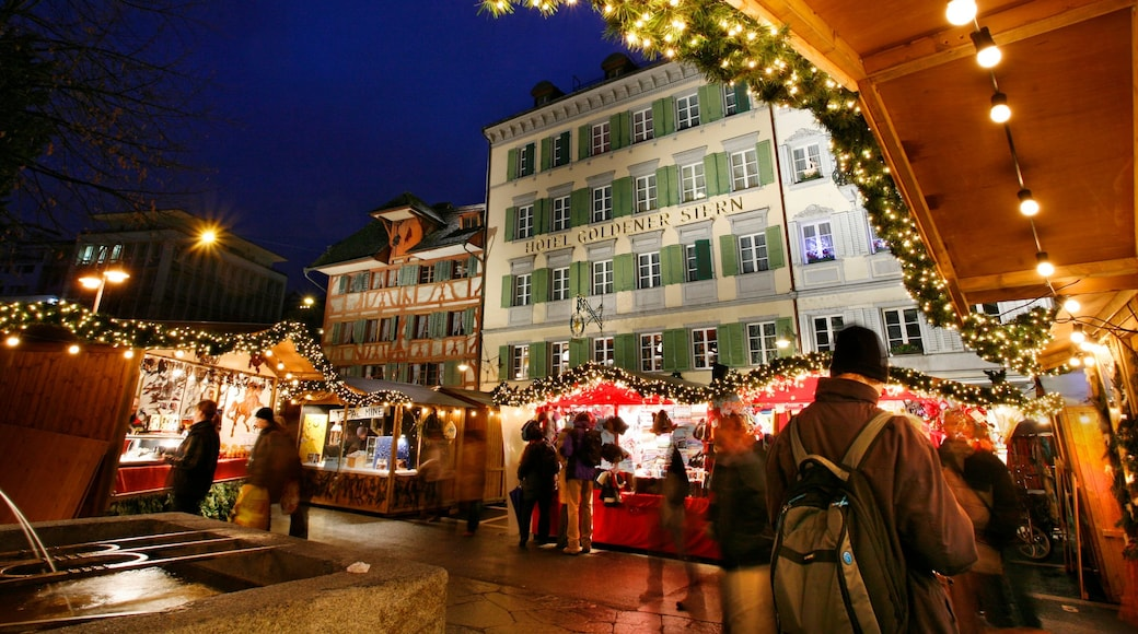 Lucerne featuring a hotel, a city and markets