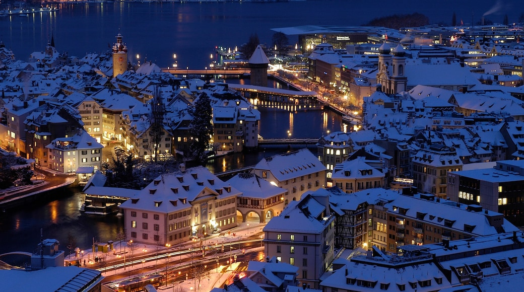 Lucerne featuring a river or creek, a city and night scenes