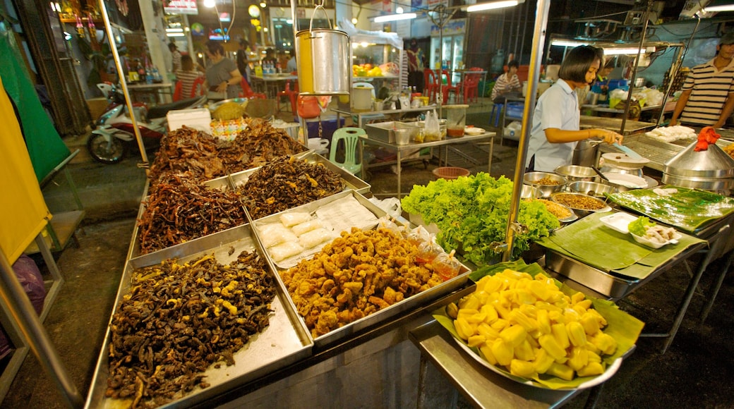 Hua Hin featuring food, interior views and markets