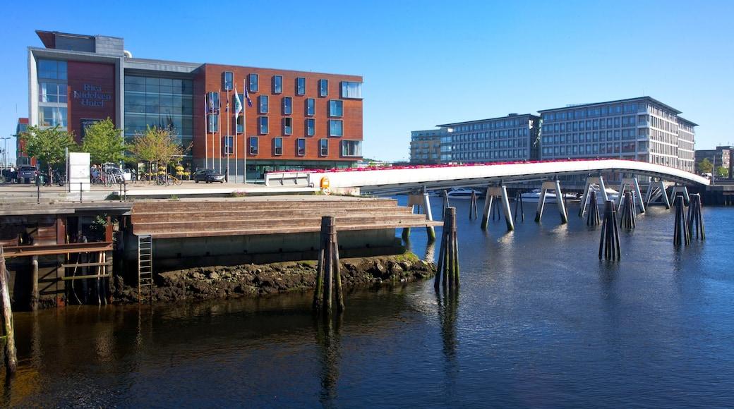 Trondheim featuring a city, a bridge and general coastal views