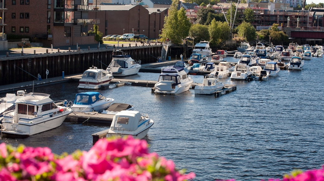 Trondheim showing a bay or harbor, boating and a marina