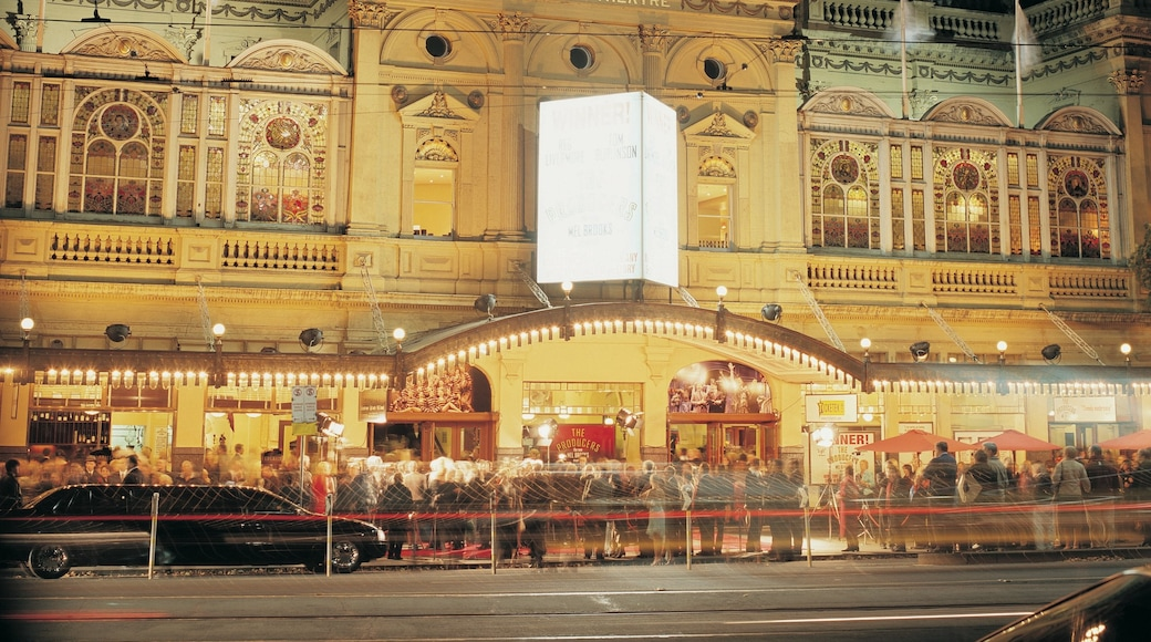 Princess Theatre featuring night scenes, street scenes and a city