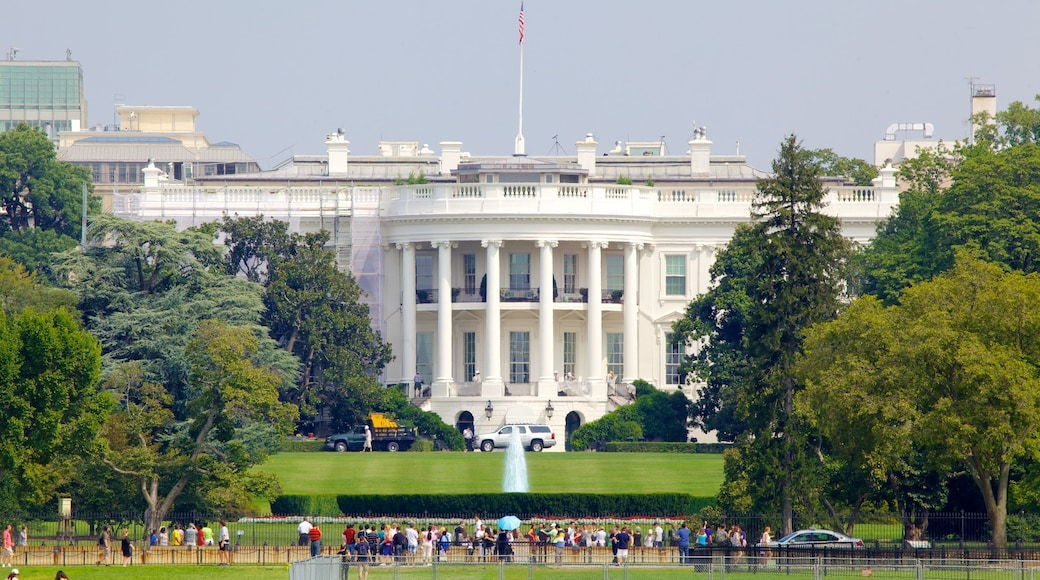 White House showing an administrative buidling, a city and a park