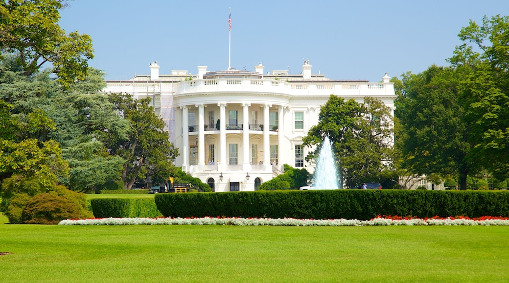 White House featuring a garden, a city and an administrative buidling