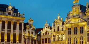 La Grand Place das einen historische Architektur, Palast oder Schloss und bei Nacht