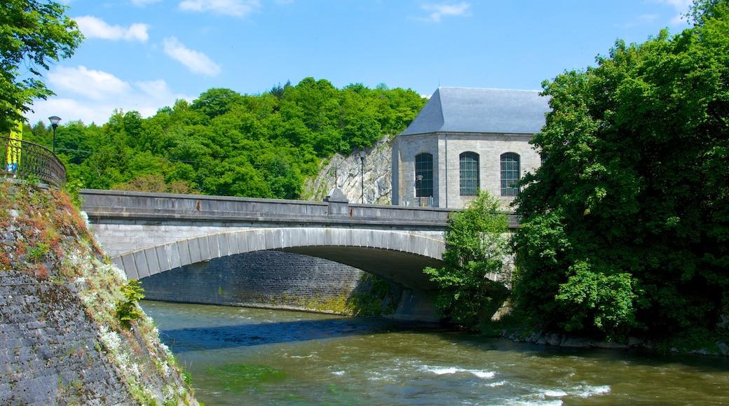 Durbuy inclusief een rivier of beek, historische architectuur en een brug